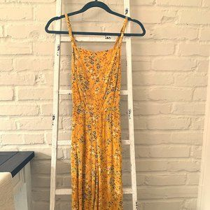 Yellow Floral Crop Jump Suit